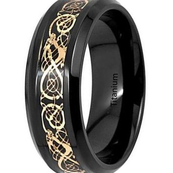 CERTIFIED 8mm Black Titanium Gold Celtic Dragon Design Inlay Wedding Band Men Ring