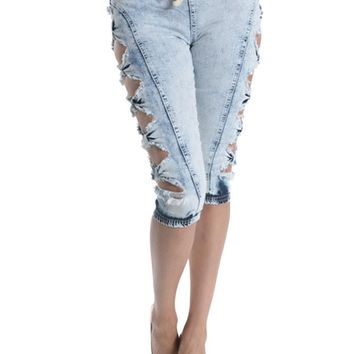 Women's Cut-N-Tied Acid Wash Jogger Capri