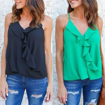 Summer Tank Tops 2018 Celmia Sexy Off Shoulder Ruffle Blouse Casual Strap V Neck Sleeveless Top Women Top Camis Plus Size S-3XL