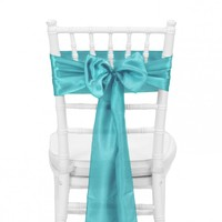 Satin Chair Sash - Turquoise Blue [404116] : Wholesale Wedding Supplies, Discount Wedding Favors, Party Favors, and Bulk Event Supplies