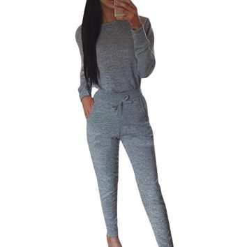 2Pcs/ Set Women Tracksuit Hoodies Long Sleeve Sweatshirt+Pants Sets Lounge Wear Casual Suit -MX8