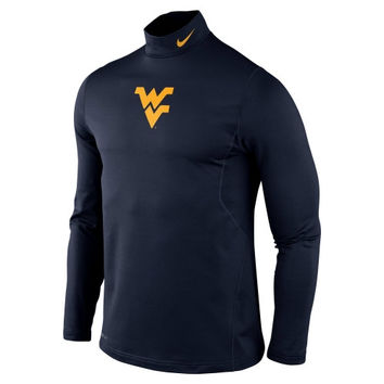 Nike West Virginia Mountaineers Performance Pro Combat Hyperwarm Long Sleeve T-Shirt - Navy Blue