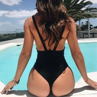 Fuji - Cheeky One-Piece with Deep Plunge and Thick Straps