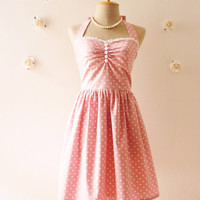 Cute Pale Pink Dress Tea Length Dress Classic Polka Dot Dress Bridesmaid Party Dress Once Upon A Time -Size XS, S, M, L, XL,CUSTOM-