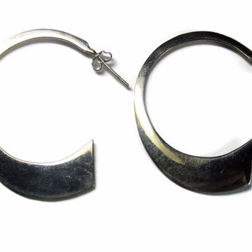 Large Vintage Mexican Sterling Hoop Earrings