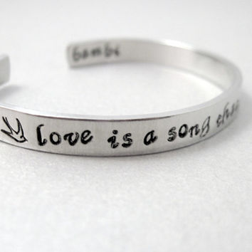 Bambi Bracelet - Love is a Song that Never Ends - Hand Stamped Aluminum Cuff - customizable