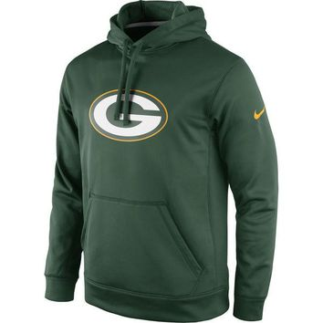 Men's Green Bay Packers Nike Green Circuit Logo Essential Performance Pullover Hoodie