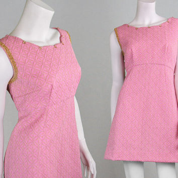 Vintage 60s Mini Dress Pink & Gold Pink Shift Dress Lurex Dress 1960s Party Dress Metallic Brocade Mod Dress Sixties Dress Floral Applique