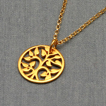 Gold Tree of Life Necklace, Small Gold  Vermeil, Gold Filled