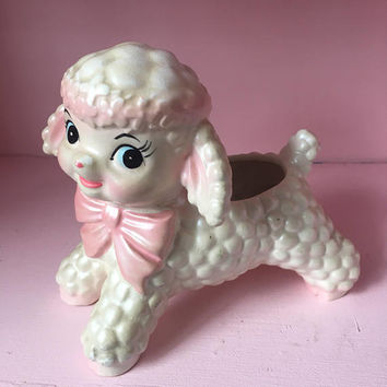 Vintage 1960s INARCO RETRO Baby Nursery or Easter Lamb w Pink Bow Planter Japan Kitsch
