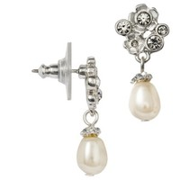 Women's Flower Drop Earring with Pave Accents and Simulated Pearl - Silver