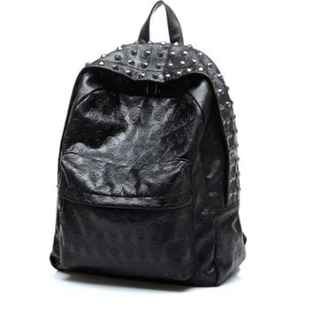ONETOW Day-First? Black Rivest Studded Travel Bag Leather Backpack Daypack