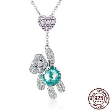 925 Sterling Silver Pink CZ Heart And Cute Bear Pendant Necklace