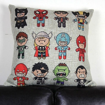 cartoon batman superman Green Lantern Captain America Hulk Flash spiderman pillow cover cotton linen throw pillow cover pillowcase