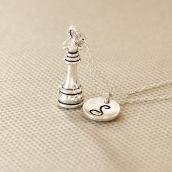 chess necklace. chess queen charm, personalized initial necklace. sterling silvr necklace. No.126