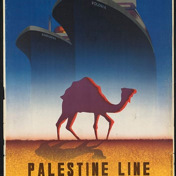 "c.1930s "" Visit Palestine-Lines Shipping Camel"" Travel Poster-Antique-Old-Vintage Reproduction Photograph/Photo: Gicclee Print. Frame it!"