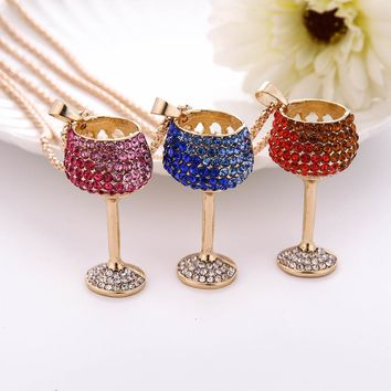 statement necklace Lowest price Fashion Women Charm Colorful Wine Glass Crystal Rhinestone Cute Pendant Sweate Drop shipping