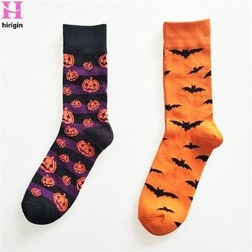 HIRIGIN 2017 Winter Autumn Art Cotton Halloween Socks Painting Character Pattern For Women Men Lady Girl Unisex Ankle
