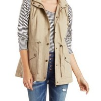Tan Faux Fur Lined Utility Vest by Charlotte Russe