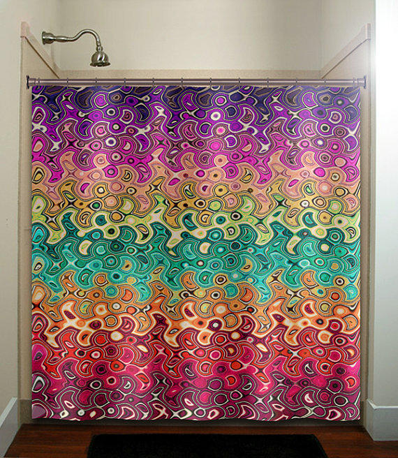 Abstract multi color rainbow wave from tablishedworks on etsy Colorful shower curtains
