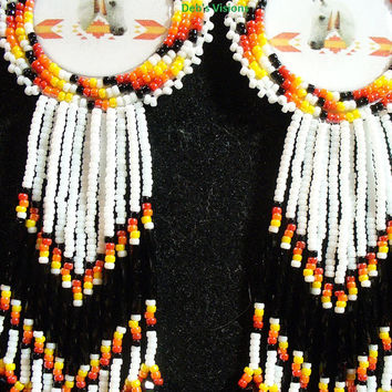 Native American inspired rosette beaded Horse earrings