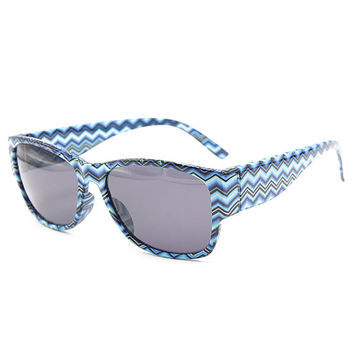 Blue Black Chevron Sunglasses Unisex Wayfarer Style Unique Glasses S002