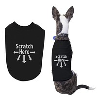 Scratch Here Dog Shirts Cute Black Pet Tshirts Funny Dog Apparel for Gifts