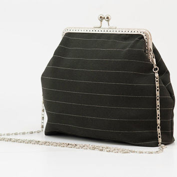 Black Clutch Purse - Evening Clutch Purse - Elegant Clutch Purse - Silver Frame