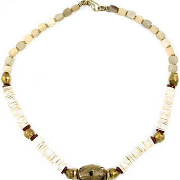 Kenyan Ostrich Egg and Cow Horn Necklace