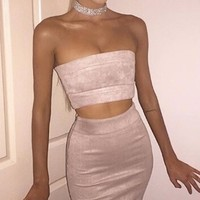 Power Couple Faux Suede Strapless Crop Bandeau Bodyon Two Piece Midi Dress - 3 Colors Available!