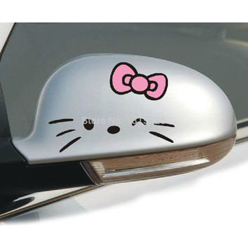 2 x Funny Hello Kitty Car Rearview Mirror Sticker And Decal for Toyota Chevrolet cruze Volkswagen skoda Hyundai Kia Lada Hyundai