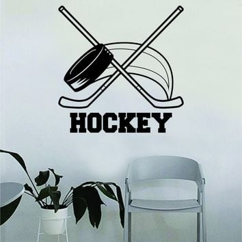 Hockey Puck and Sticks Wall Decal Quote Home Room Decor Decoration Art Vinyl Sticker Bedroom Inspirational Sports Teen Sticks Extreme Ice Goalie Motivational