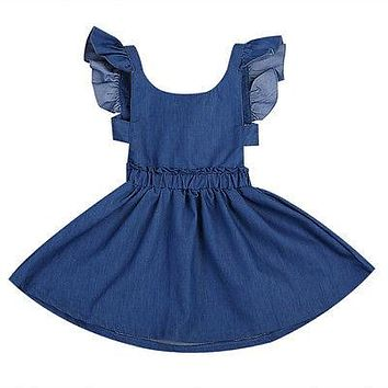 Summer Girls Kid Toddler Summer Ruffle flying sleeves Jeans Party Dresses Outfit