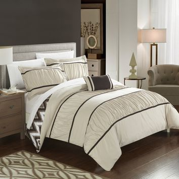 Chic Home 4-Piece Brooks Pleated & Ruffled with Chevron REVERSIBLE Backing King Comforter Set Beige Shams and Decorative Pillows included