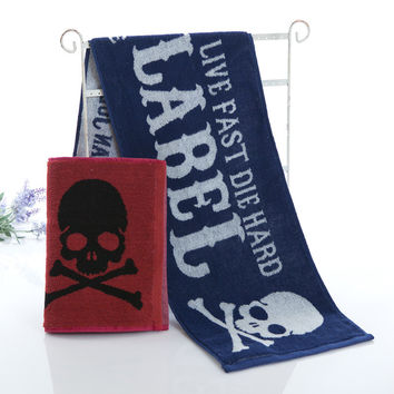 Hot Deal Bedroom On Sale Cotton Sports Jogging Gym Skull Towel [6381740166]