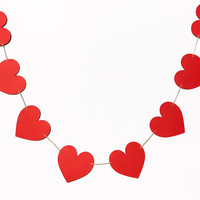 Hearts Garland | Heart Banner | Valentine's Heart Garland | Red Hearts | Glitter Hearts | Valentine's Decor | Valentine's Decoration