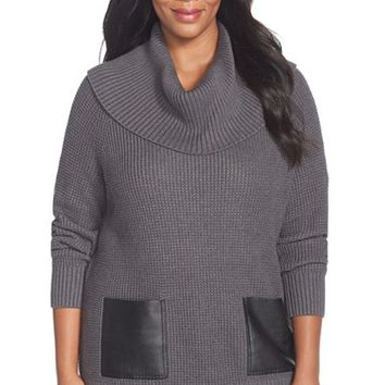 Plus Size Women's MICHAEL Michael Kors Faux Leather Pocket Cowl Neck Sweater,