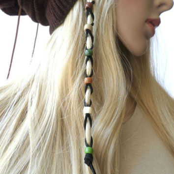 Earth Tone Multi-color Beads Leather Hair Ties Wraps Hair Jewelry, Suede Leather Beaded Braided Hair Ties, gift
