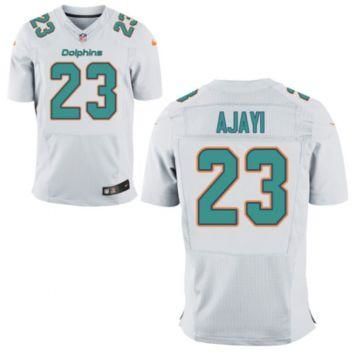Men's Miami Dolphins #23 Jay Ajayi White Stitched Nike NFL Road Elite Jersey
