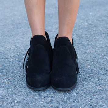 Short Black Fringed Booties