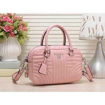 PRADA Trending New Style Ladies Leather Satchel Tote Handbag Zipper Shoulder Bag Crossbody Pink I-MYJSY-BB