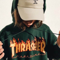 Thrasher Autumn and winter new fashion flame letter print leisure hooded long sleeve top sweater Green