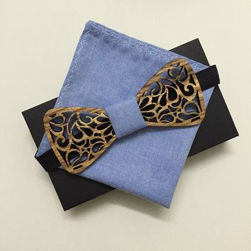 wedding tie sets Handmade Mens Wooden Bow Ties Wood Necktie Big Party Banquet Casual Fashion Floral Butterfly Tie Z&L