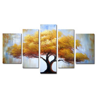Giant Golden Tree Landscape Canvas Wall Art Oil Painting