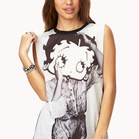 FOREVER 21 Betty Boop Muscle Tee Black/White
