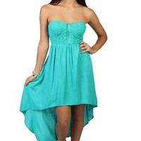 strapless high low dress with crochet corset bra top - debshops.com