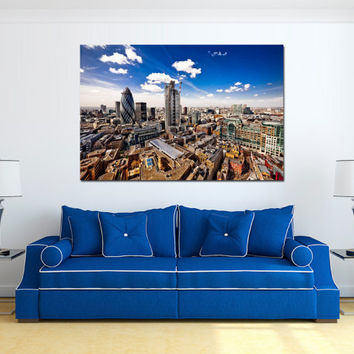 "Canvas Print Artwork Stretched Gallery Wrapped Wall Art Painting London England City Town Large Size 26x39"" (can13)"