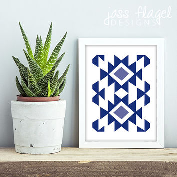 8x10 AZTEC Art Print, Navy #3 - Instant Download, Hi-Res Print PDF