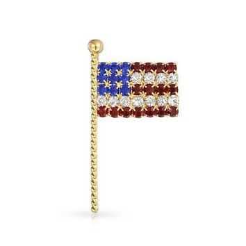 Bling Jewelry Patriotic American Flag Pin Brooch Crystal Gold Plated