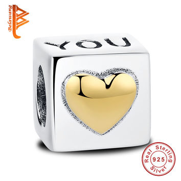 Valentine's Gift 925 Sterling Silver Charm Cube I LOVE You Beads Fit Original Pandora Charm Bracelets With Gold Heart Jewelry